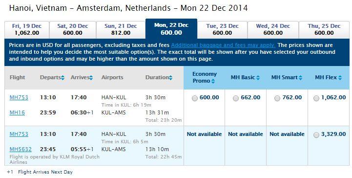 Vé máy bay Hà Nội đi Hà Lan giá rẻ