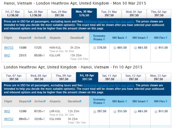 HN-London Malaysiaair