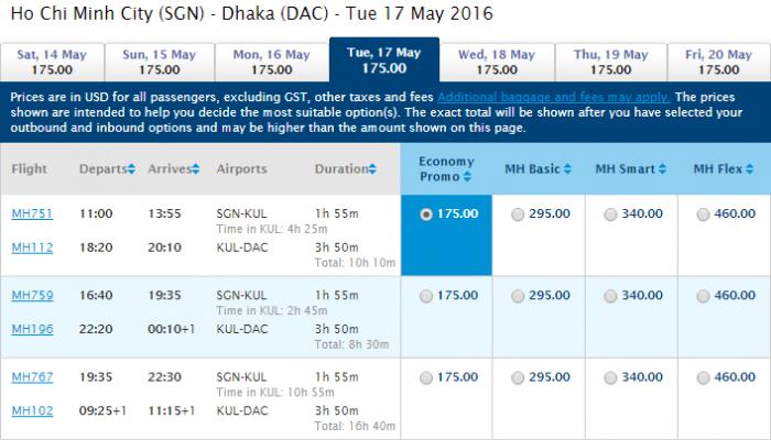 HCM-Dhaka t4 malaysia