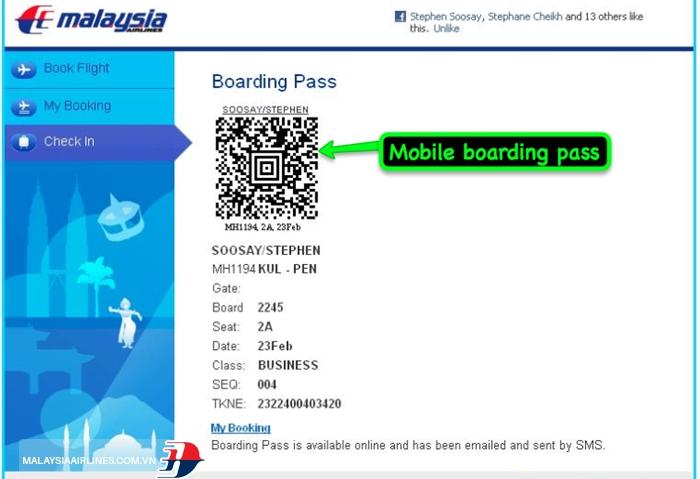 Làm thủ tục check-in trực tuyến Malaysia Airlines