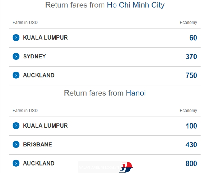 Vé máy bay Malaysia Airlines KM